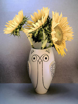 Sunflowers Before The Fade Print by William Dey