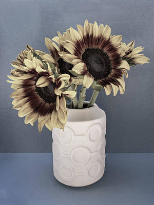 Sunflowers Fade To Grey Print by William Dey