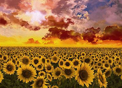 Digital Sunflower Digital Art - Sunflowers Field 1 by Bekim Art