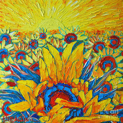 Abstract Realist Landscape Painting - Sunflowers Field In Sunrise Light by Ana Maria Edulescu