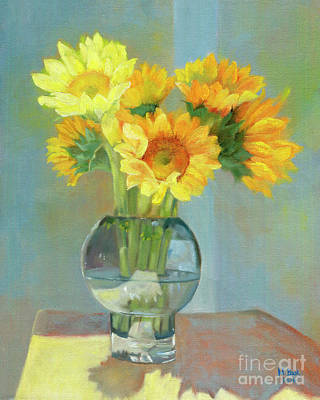 Sunflowers In A Glass Vase Number One Print by Marlene Book