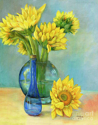 Reflections On Bottle Painting - Sunflowers In A Glass Vase Number Two by Marlene Book