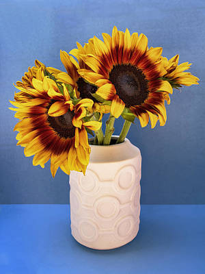 Sunflowers In Circle Vase Tournesols Print by William Dey