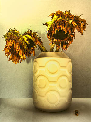 Sunflowers In Circle Vase Yellow Tournesols Print by William Dey