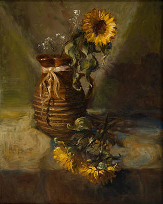 Sunflowers In Clay Pitcher Print by Sandra Quintus