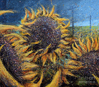 Splashy Art Painting - Sunflowers In Field by Michael Glass
