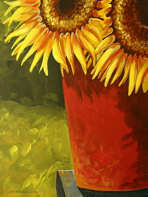 Folk Art Painting - Sunflowers In Red Bucket by Debbie Criswell