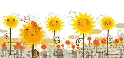 Sunflowers Print by Luciano Lozano