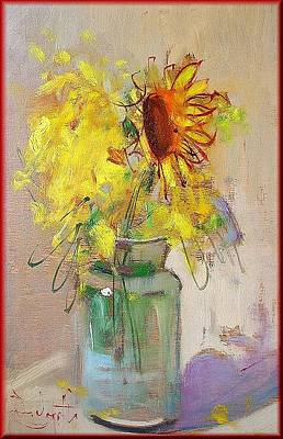 A Summer Evening Landscape Painting - Sunflowers by Pelagatti