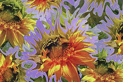 Sunflowers Rising 25 Print by Lynda Lehmann