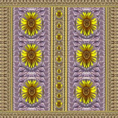 Sunflowers Vintage Lace In Joy And Harmonizing Print by Pepita Selles