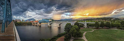 Sunlight And Showers Over Chattanooga Print by Steven Llorca
