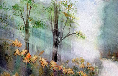 Sunlight In The Forest Print by Kim Hamilton