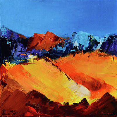 Blue Abstracts Painting - Sunlight In The Valley by Elise Palmigiani