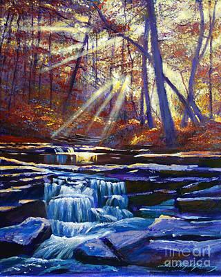 Sunlit Falls Print by David Lloyd Glover