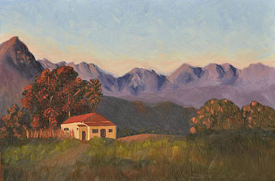 Orange Painting - Sunlit Farmhouse by Leana De Villiers