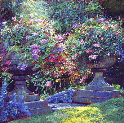 Blooming Painting - Sunlit Garden Urns by David Lloyd Glover