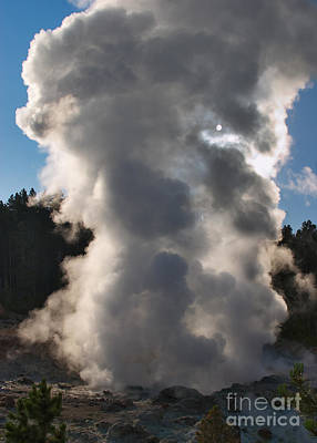 Steam Photograph - Sunlit Steamboat Geyser by Charles Kozierok