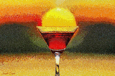 Wineglass Painting - Sunned Wine - Pa by Leonardo Digenio