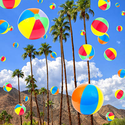 Sunny And Beach Balls Print by William Dey