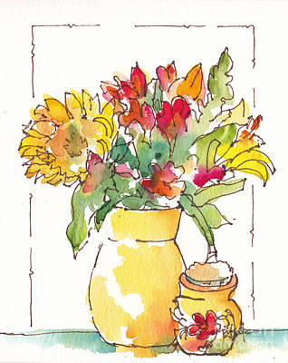 Pottery Painting - Sunny Bouquet No 2 by Pat Katz