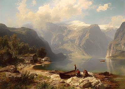 Boathouses Painting - Sunny Day At A Norwegian Fjord by Mountain Dreams