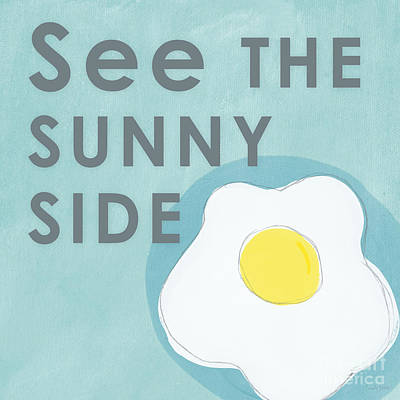 Egg Print featuring the mixed media Sunny Side by Linda Woods