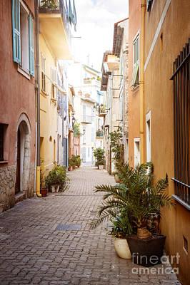 Sunny Street In Villefranche-sur-mer Print by Elena Elisseeva