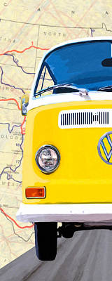 Combie Mixed Media - Sunny Yellow Vw Bus - Left by Mark Tisdale