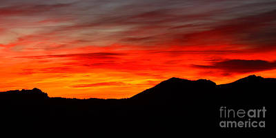 Sunrise Against Mountain Skyline Print by Max Allen