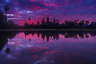 Reliefs Photograph - Sunrise Angkor Wat Reflection by Mike Reid