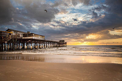 Built Structure Photograph - Sunrise At Cocoa Beach Pier by Will Tan