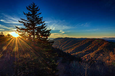 Sunrise At Newfound Gap Print by Rick Berk