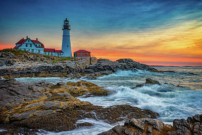 Sunrise At Portland Head Light Print by Rick Berk