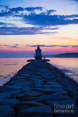 Sunrise At Spring Point Light Maine Print by Diane Diederich