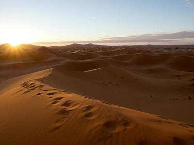 Sunrise At The Erg Chebbi Dunes Print by Panoramic Images