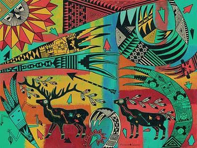 Cabin Painting - Sunrise Elk by Medana Gabbard