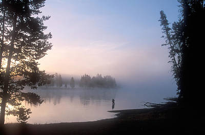 Sunrise Fishing In The Yellowstone River Print by Michael S. Lewis