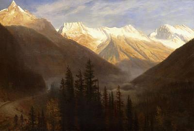 Snow Scene Landscape Painting - Sunrise From Glacier Station by Albert Bierstadt