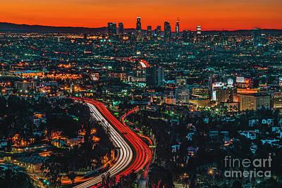 Los Angeles Skyline Photograph - Sunrise In Hollywood by Art K