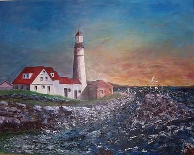 New England Lighthouse Painting - Sunrise On Portland Head by Pat Casey