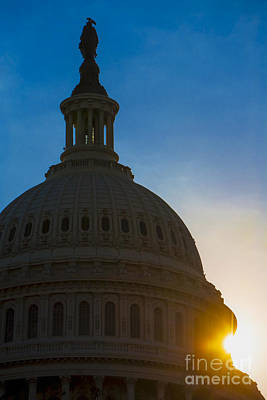 Sunrise On The United States Capitol Building  Print by Diane Diederich