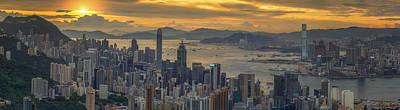 Tsui Photograph - Sunrise Over Hong Kong And Kowloon City by Anek Suwannaphoom