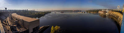 Sunrise Over Hydroelectric Power Plant And Dnieper River In Ukraine Original by Yevhenii Volchenkov