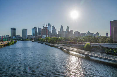 Sunrise Over Philadelphia From The South Street Bridge Print by Bill Cannon