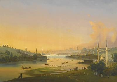 Bosphorus Painting - Sunrise Over The Golden Horn by Celestial Images