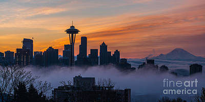 Linked Photograph - Sunrise Seattle Skyline Above The Fog by Mike Reid