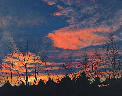 Sky Scape Painting - Sunrise Silhouettes by Brenda Ferro