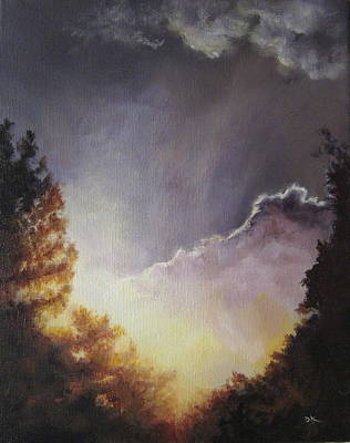 Nature Painting - Sunrise Through The Pines by Diane Kraudelt