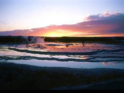 Color Transparency Photograph - Sunset - Great Fountain Geyser by John Foote